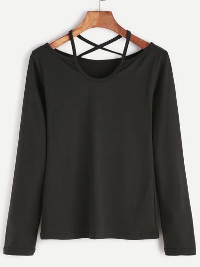 Camiseta de manga larga espalda enrejada - negro
