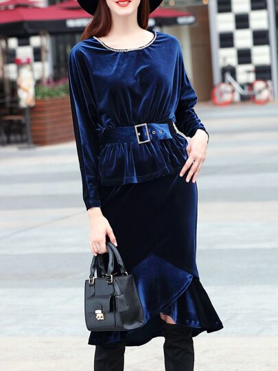 Navy Velvet Peplum Belted Top With High Low Skirt