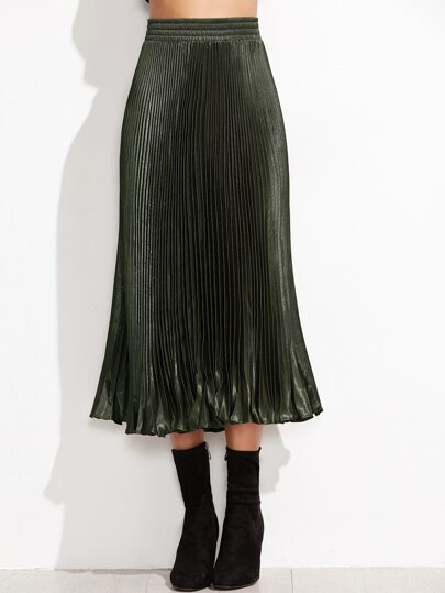 Army Green Elastic Waist Pleated Skirt