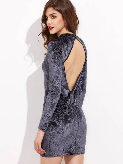 Grey Flower Embossed Open Back Velvet Bodycon Dress