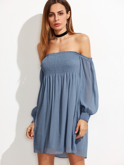 Blue Bishop Sleeve Smocked Off The Shoulder Dress