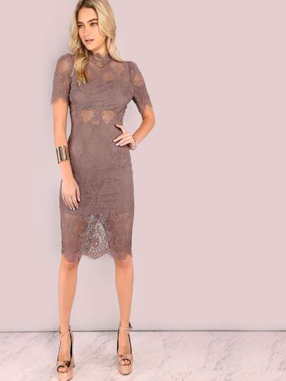 Lace Mock Neck Short Sleeve Midi Dress DARK MAUVE