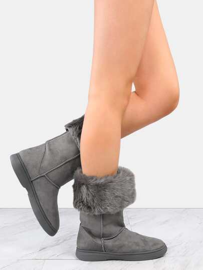 Faux Suede Fur Lined Boots GREY