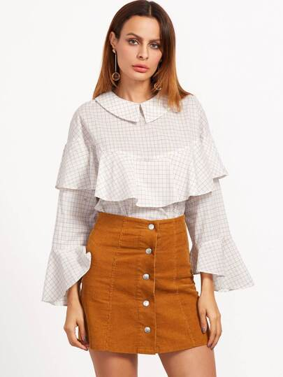 White Grid Chelsea Collar Ruffle Blouse