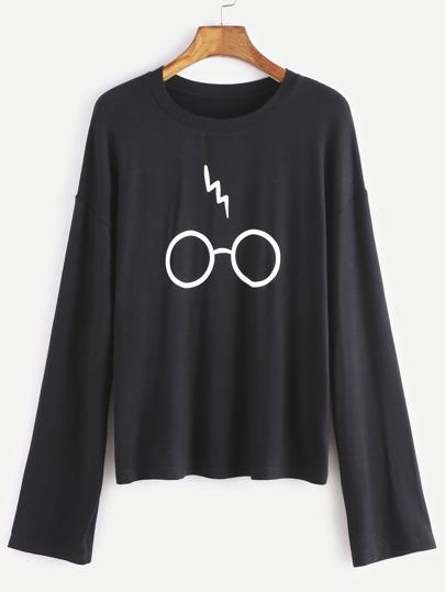 T-shirt à l'épaule laissé imprimé lunettes -noir