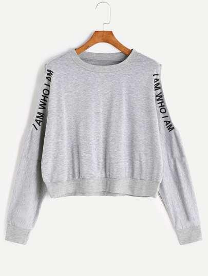 Grey Letter Print Open Shoulder Crop Sweatshirt