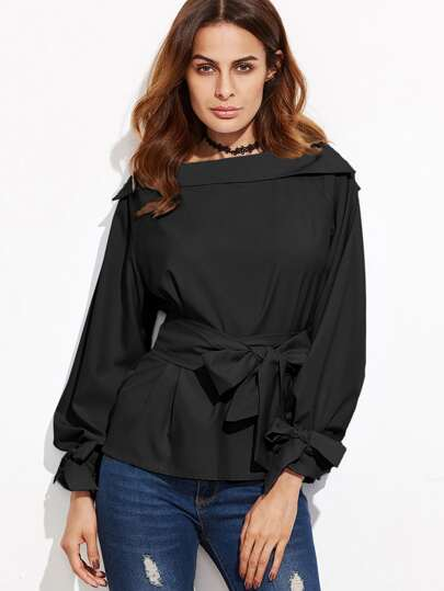 Black Foldover Boat Neck Belted Waist And Cuff Blouse