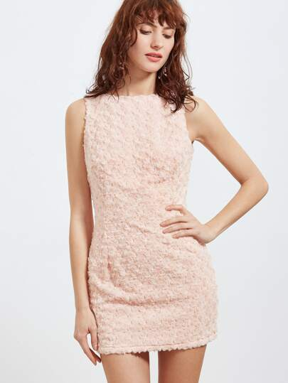 Pink Allover Rose Applique Mini Dress