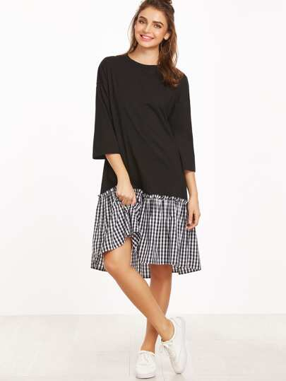 Black 3/4 Sleeve Gingham Ruffle Trim Dress