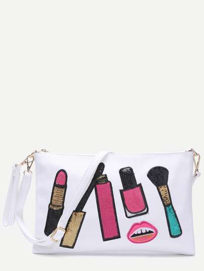 Makeup Brush White Clutch Bag With Strap