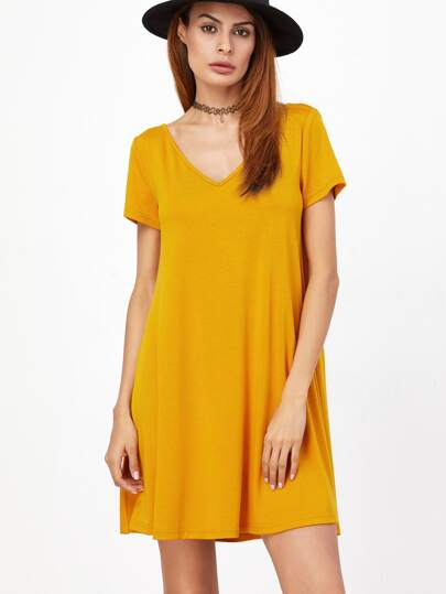 Yellow Caged V Back Swing Tee Dress