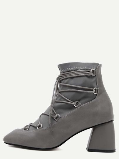 серые искусственные кожаные квадратные ботинки