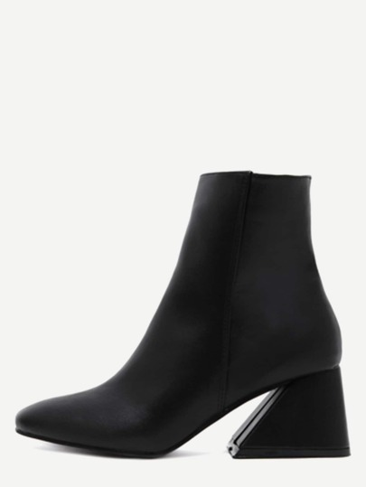 Black Square Toe Geometric Heel Zip Side Boots