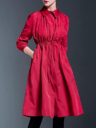 Red Lapel Drawstring Pockets Coat