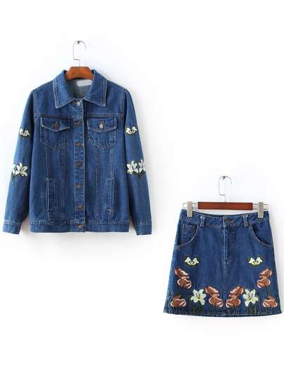 Blue Floral Embroidery Denim Jacket With Skirt