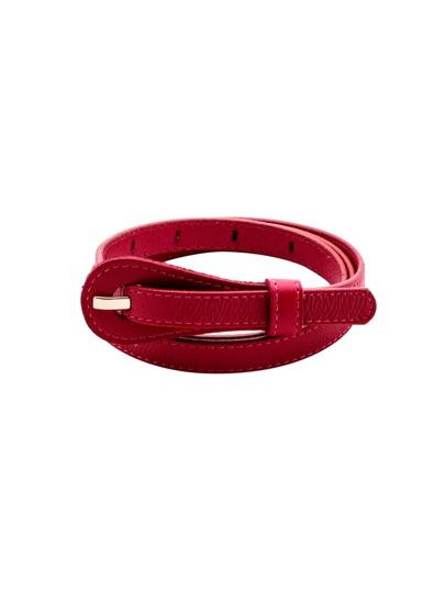 Hot Pink Buckled Simple Skinny Belt