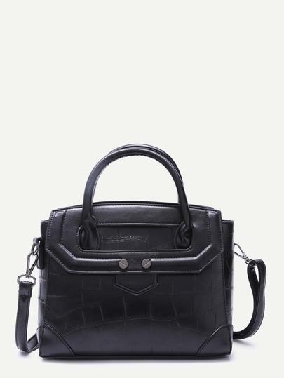 Black Crocodile Embossed Shoulder Bag