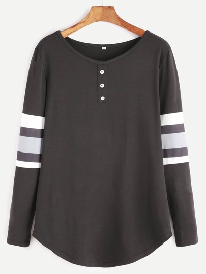 Black Varsity Striped Curved Hem T-shirt