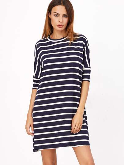 Navy And White Striped Half Sleeve Tee Dress