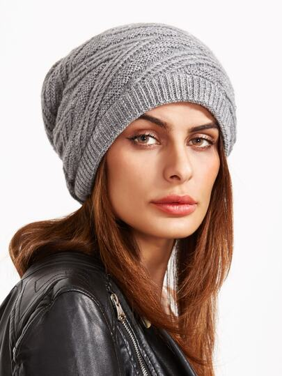 Light Grey Knit Textured Drape Beanie Hat
