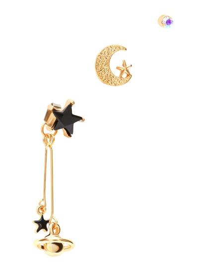Gold Tone Star Moon Pendant Earring Set