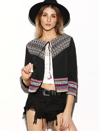Black Tribal Yoke Tie Neck Quilted Jacket With Embroidered Tape