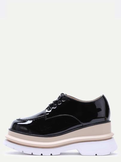 Black Patent Leather Lace Up Flatform Shoes