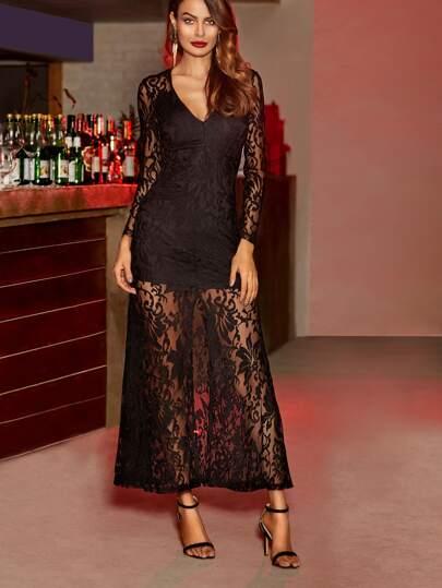 Black Deep V Neck Slit Front Lace Overlay Dress