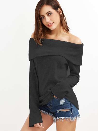 Black Off The Shoulder Foldover Knit T-shirt