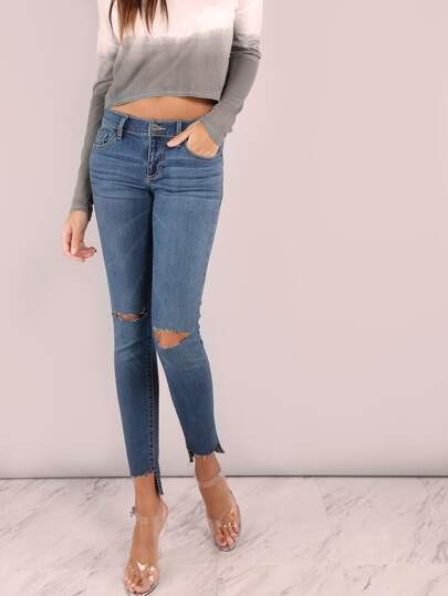 Low Rise Raw Cut Skinny Jeans DENIM