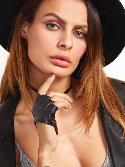Black Open-Toe Leather Gloves for Momen