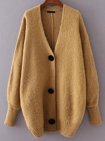 Khaki Button Up Loose Sweater Coat