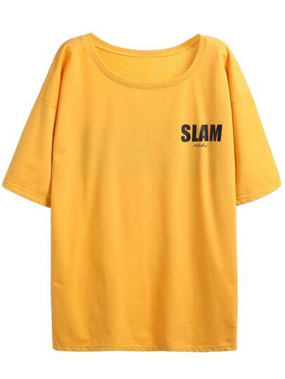 Camiseta hombro caído con estampado de letras - amarillo