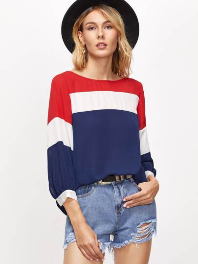 Color Block 3/4 Lantern Sleeve Blouse