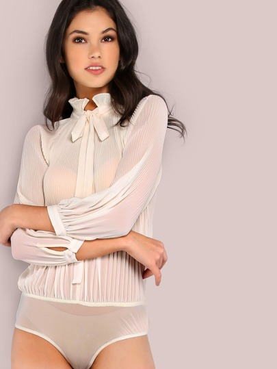 Sleeved Pleated Chiffon Neck Tie Bodysuit CREAM