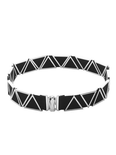 Silver Metal Triangle Elastic Belt