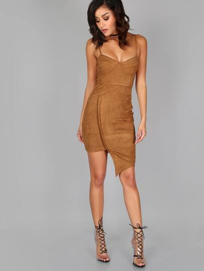 Asymmetrical Bustier Suede Dress CAMEL