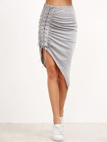 Grey Shirred Lace Up Asymmetric Skirt