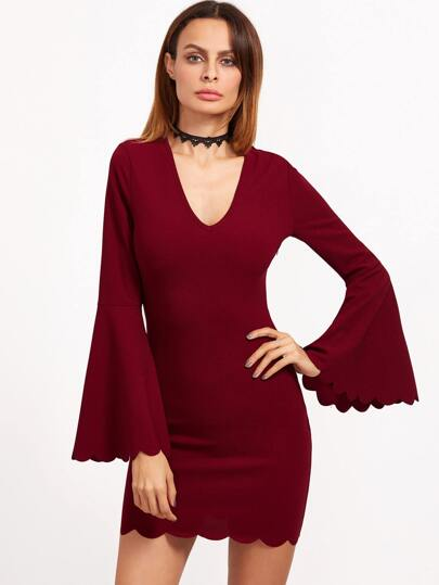 Burgundy Deep V Neck Bell Sleeve Scallop Dress