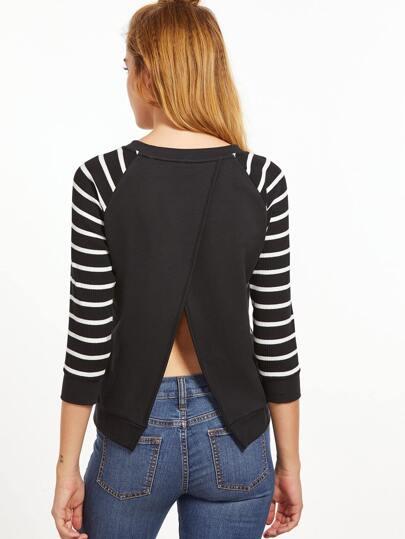 Black And White Striped 3/4 Raglan Sleeve Split Back Sweatshirt