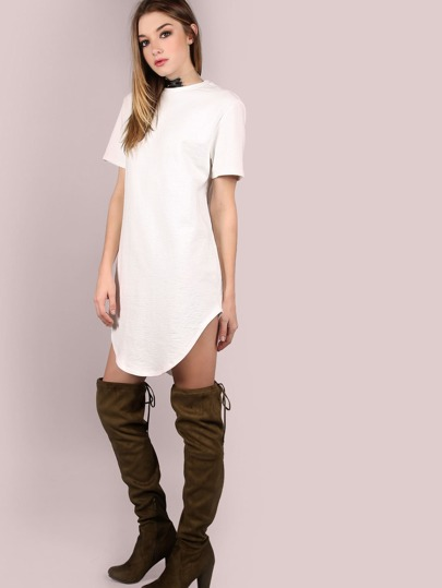 White Splash Print Curved Hem Distressed Tee Dress