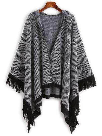 Geometric Print Hooded Fringe Poncho Coat