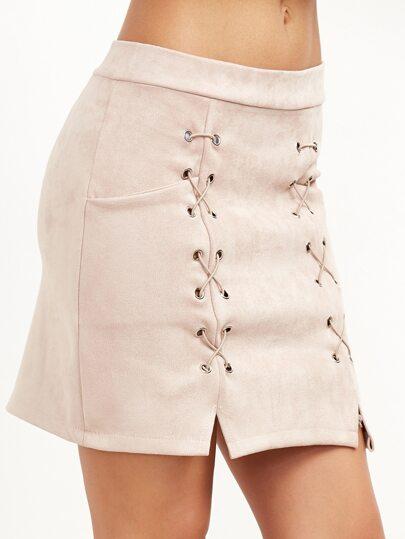 Jupe rideau d'oeillet détail côté de fente -abricot