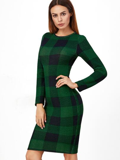 Green Plaid Long Sleeve Pencil Dress