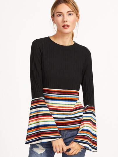 Multicolor Striped Ribbed Knit Bell Sleeve T-shirt