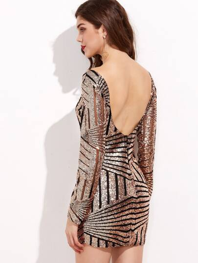 Mesh Insert Low V Back Sequin Dress