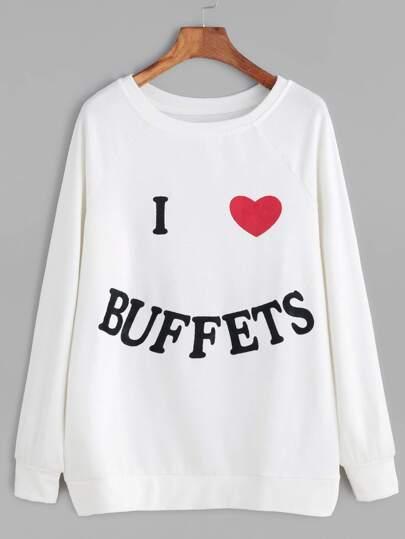Beige Letter Heart Print Sweatshirt
