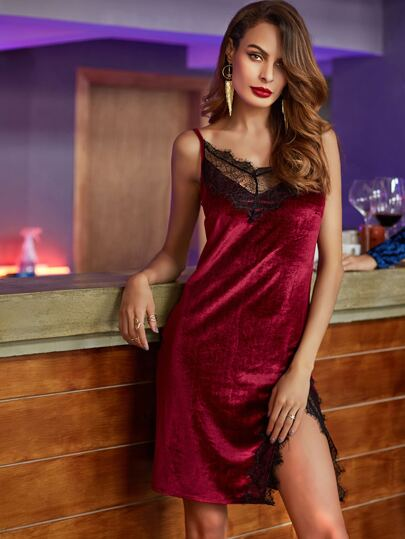 Burgundy Lace Trim Slit Velvet Cami Dress
