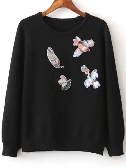 Black Embroidery Raglan Sleeve Sweater With Sequin