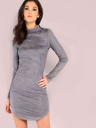 Grey Mock Neck Curved Hem Bodycon Dress